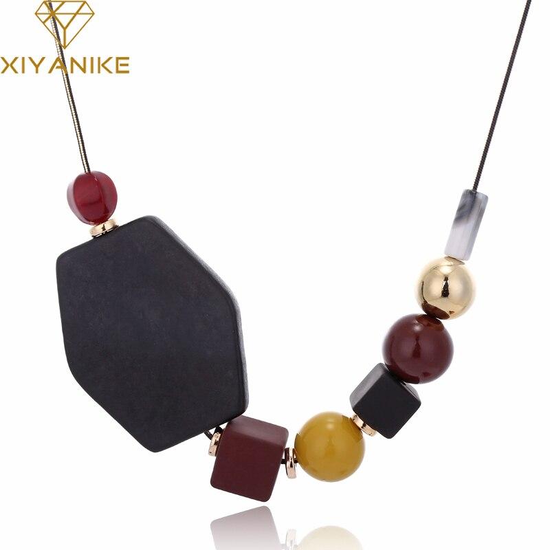XIYANIKE 2018 Nouvelle Femme Colliers Big Géométrique Bois Perles Pendentif Colliers De Mode Bijoux Chaîne de Chandail Accessoires N401