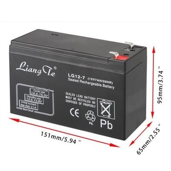 LiangTe Storage Batteries 12V7ah lead acid battery rechargeable battery Mainly for the LED flashlight desk lamp lighting battery