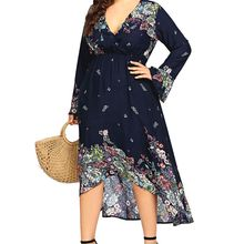 Women Plus Size Spring Autumn Floral Printing Asymmetrical Hem Flare Long Sleeve V-neck Tunic Maxi Dress L-5XL