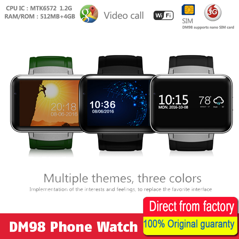 Smart Watches Flight Tracker Dm98 Smart Watch Mtk6572 Dual Core 2.2 Inch Touch Screen 900mah Battery 512mb Ram 4gb Rom Android 4.4 Os 3g Wcdma Gps Wifi Consumer Electronics