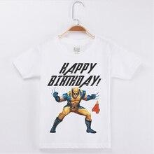 Hot Sale Happy Birthday Boys T Shirts 2019 Superhero Printing Boy T-Shirt Child Cotton O-Neck Half Sleeve Tee Shirt Kids Tshirt