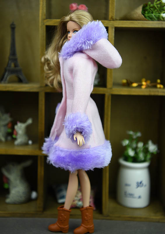 Doll Accessories Winter Wear Warm Coat For Barbie Dolls Fur Doll Clothing Dress Clothes For Barbie 1/6 BJD Doll Kids Toy 5