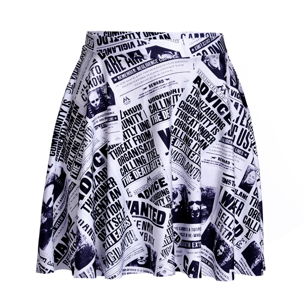 Women Newspaper Print Mini Skirts Ball Gown Buttons Design Summer Casual Streetwear Plus Size Skirts