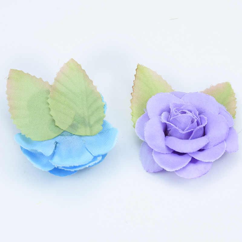 6 יח'\חבילה זול משי ורדים ירוק עלה פרחים דקורטיביים diy pompom מתנות תיבת חג המולד דקור לבית חתונה פרחים מלאכותיים