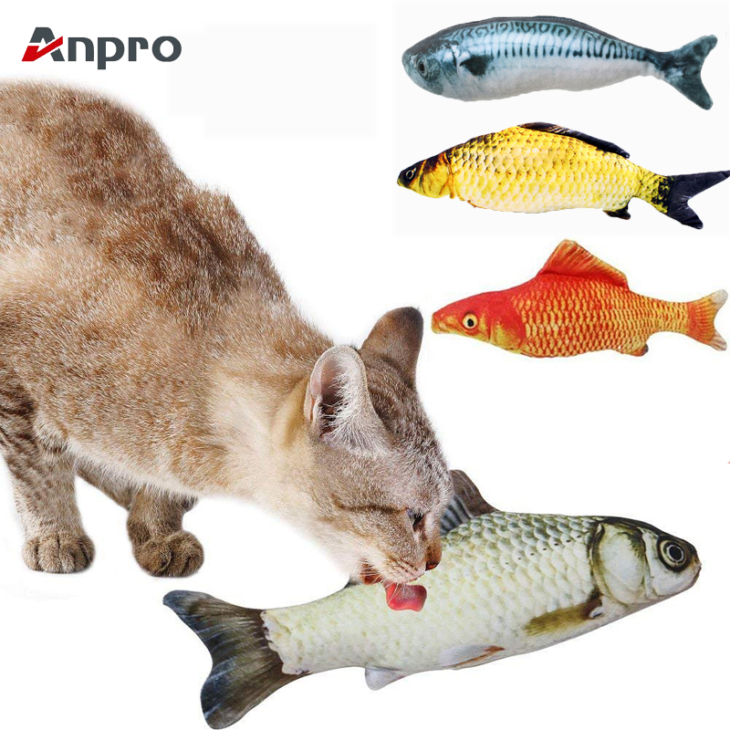 Anpro 1pc Vivid Artificial Fish Shape Simulation Plush Pet Cat Chew Toy Cat Mint Catnip Fish Toys Interaction Training Toys