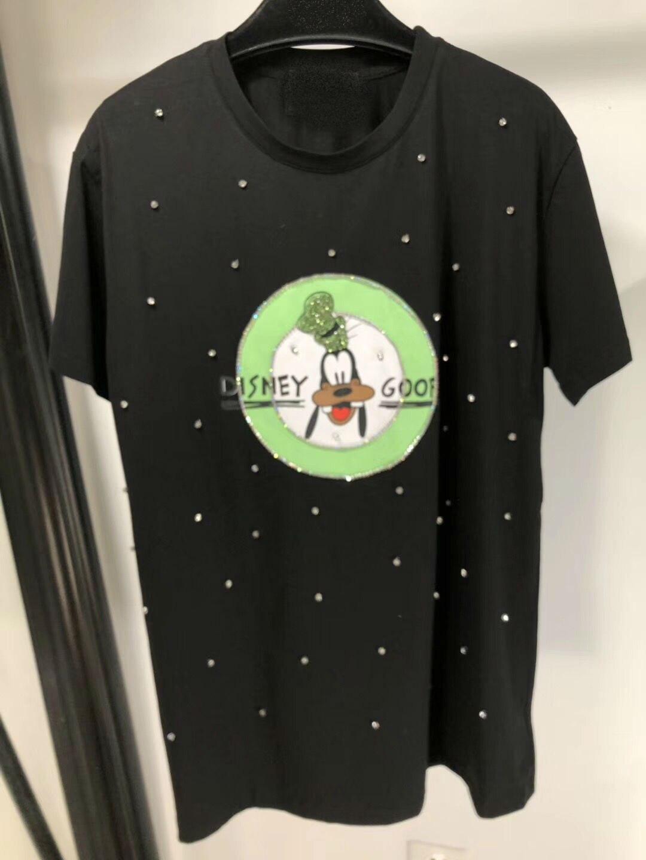 Kadın Giyim'ten Tişörtler'de 2019 Yeni El Yapımı Boncuklu Eğlence Baskılı Pamuk T Shirt Kadınlar için Ücretsiz Kargo'da  Grup 1