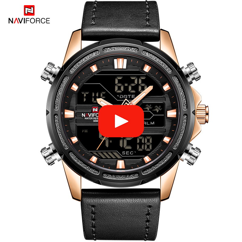 NAVIFORCE Brand Mens Sport Watches Quartz Analog LED Clock Men Leather Military Waterproof Digital Wrist Watch Relogio Masculino все цены