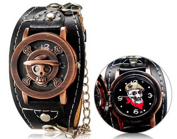 2017 Hot Brand Anime One Piece Punk Style&Punk Style Unisex Skull PrintUnisex Round Analog Flip Watch with Faux Leather Strap punk style cylinder hollow out round faux crystal solid color torques for women