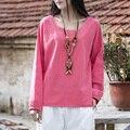 Sólido Del O-cuello de manga Larga de Las Mujeres Blusa Camisa Camisas Blusas Brand Design Causal Lindo Verano Tee Shirt Tops Blusas Femme B116