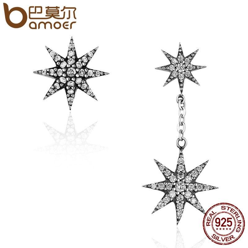 BAMOER de moda 100% de Plata de Ley 925 espumosos estrella y copo de nieve pendientes para las mujeres de plata auténtica joyería Bijoux SCE108