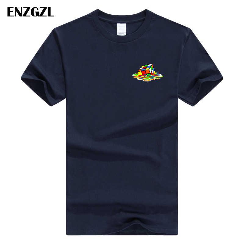 ENZGZL 新夏新高品質の tシャツメンズルービックキューブカジュアル半袖 o ネック綿 100% tシャツ男性ブランド tシャツ