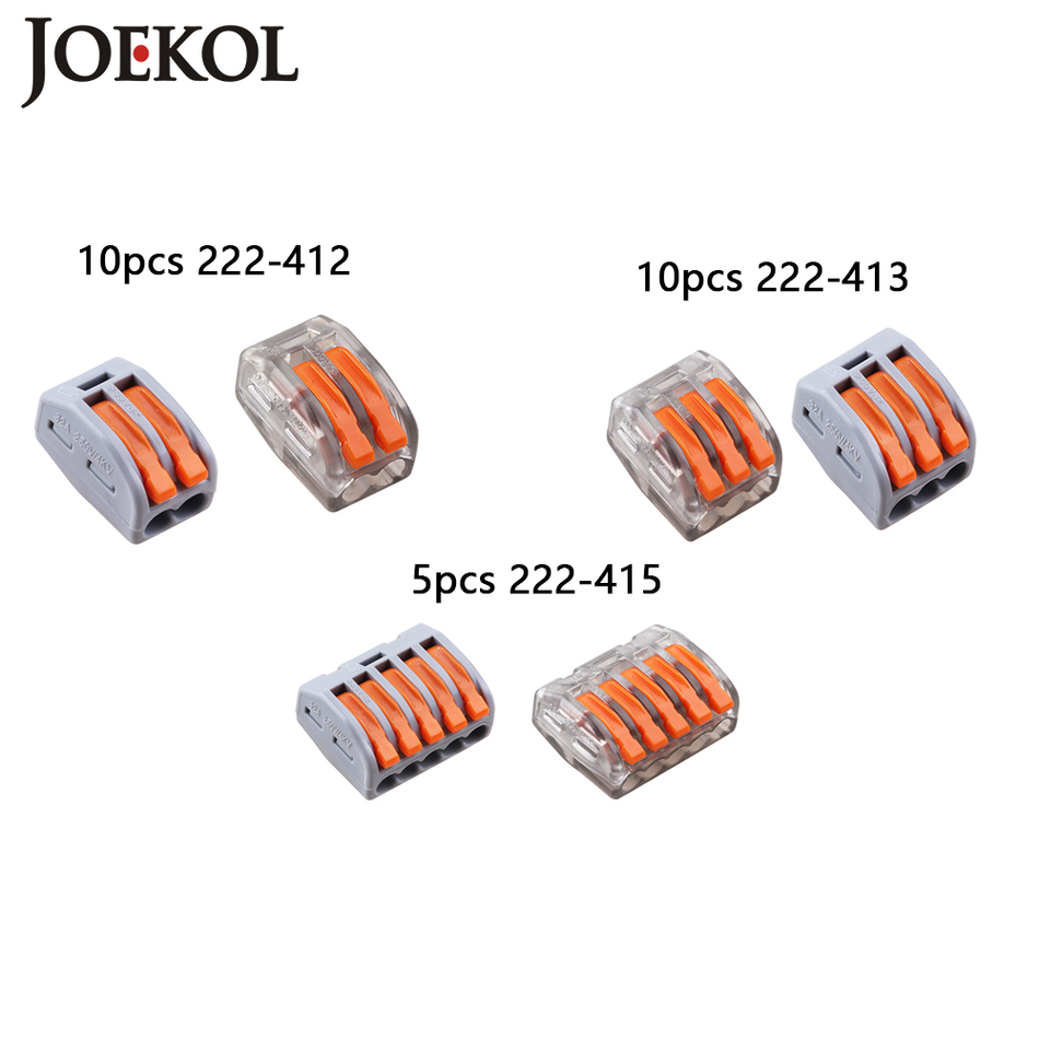 (25pcs/lot) mini fast Wire wago Connector,222-412 413 415 Universal Compact  Wiring Connector Conductor Terminal Block 10pcs lot 5set t type red soft fast electric wire connecting terminal without breaking line connector non destructive connector