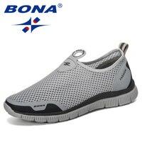 BONA 2019 Men Breathable Casual Shoes Krasovki Mocassin Basket Homme Comfortable Sneakers Shoes Chaussures Pour Hommes Mesh Shoe