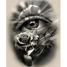 5D Diamond Painting Completely Icons Diamond Embroidery Black White Eyes Full Square Drills Crystal Rhinestone Mosaic Kits Rose