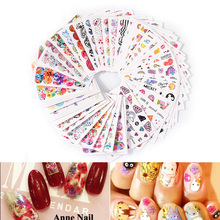 цена на Flowers Water Nail Art Stickers 45PCS/set Feather Butterfly Cute Colorful Designs Nail Transfer Decals DIY Manicure Decoration
