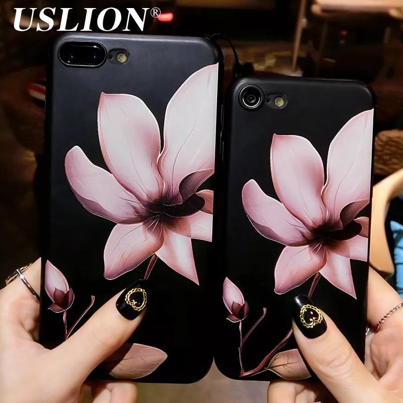 Uslion moda 3d flor blanca pintura teléfono case para iphone 7 Vintage Soft Tpu