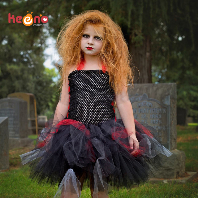 f8c359a271f7 Keenomommy Girls Zombie Tutu Dress Black Red Halloween Costume Scary  Monster Pageant Kids Baby Party Dress TS133