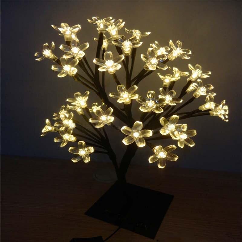 Новый LED кристалл вишни дерево стол настольные лампы Крытый ночные огни Рождество Новый год Свадебная вечеринка Luminaria Декор ...