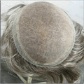100% Натуральные Волосы Швейцарской Кружева и ПУ Мужчины Парик Волос Замена Систем Чисто Ручной Работы Парик H067