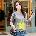 2016 Autumn Fashion Women sweater high elastic O-neck sweater women slim sexy stars Printed Bottoming Knitted Pullovers