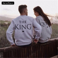 KING QUEEN Sweatshirts Couple Pullovers 2017 Casual Back Letter Printed Grey Hoodies Full Sleeve O-Neck Women Men Clothing H1071