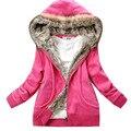2015 nova moda inverno hoodies cardians com capuz completo manga da camisola bolso com zíper frontal decoração veludo camisola grossa mulheres