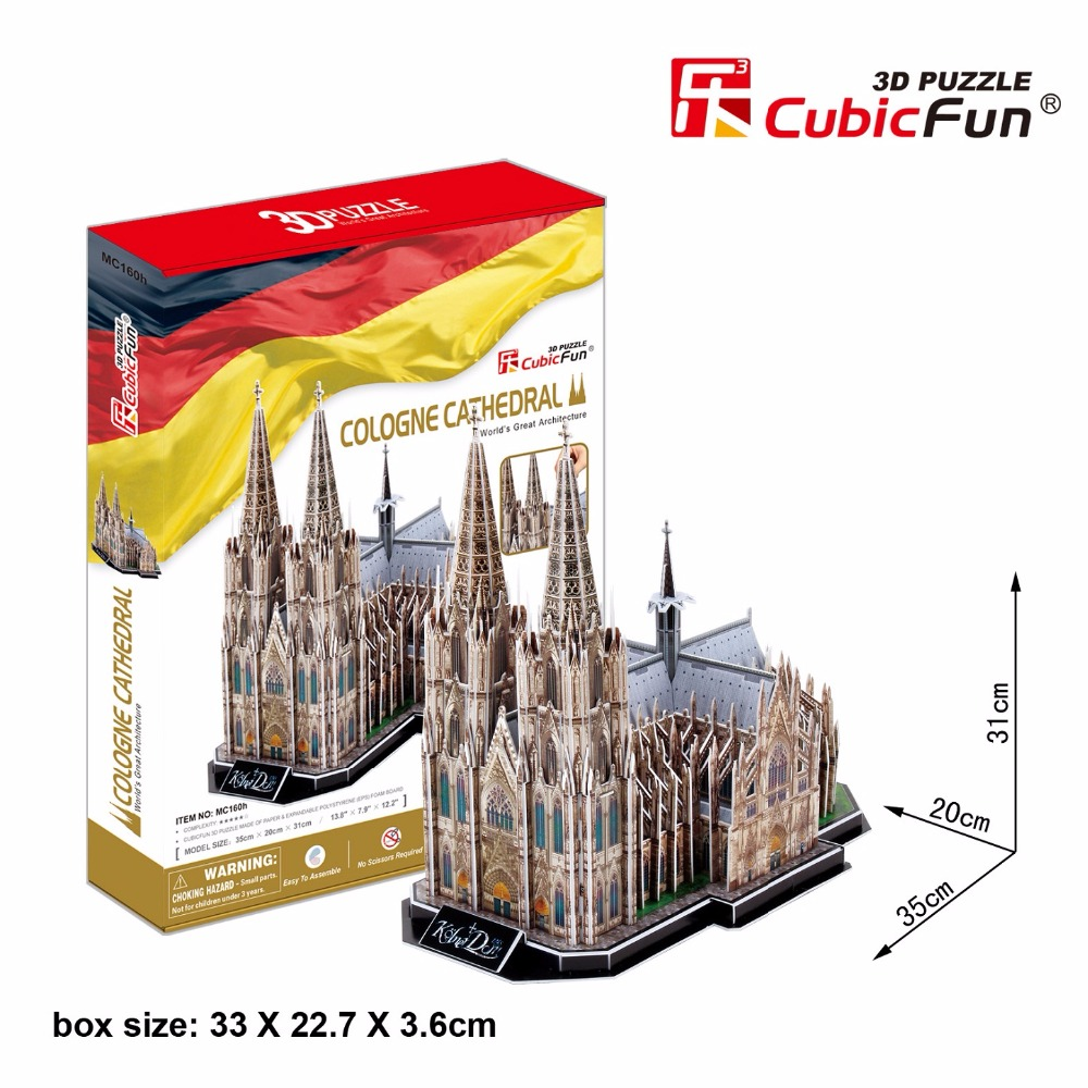 CubicFun 3D puzzle toy paper assemble building model gift Germany koln Cologne Cathedral church world's great architecture 1pc стоимость