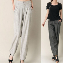 free shipping spring autumn summer  women's fluid casual pants linen plus size loose quinquagenarian straight pants trousers