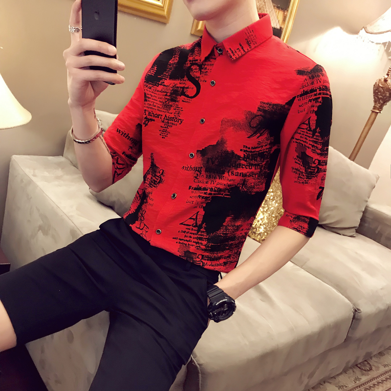 2019 summer new men 39 s five point sleeve shirt Slim print Korean version of the trend hair stylist wild work clothes flower shirt in Casual Shirts from Men 39 s Clothing