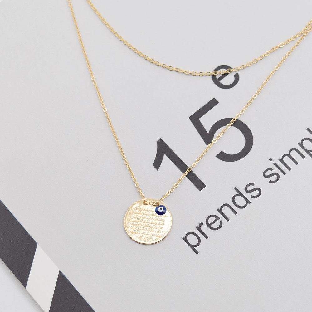 New rhinestone blue turkey nazar component pendant double chain new rhinestone blue turkey nazar component pendant double chain necklaces for women round charm wholesale blue necklace in pendant necklaces from jewelry mozeypictures Images