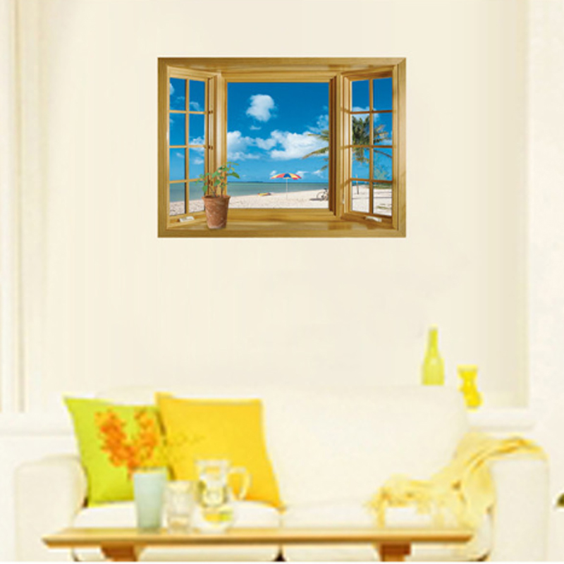 3D Fake Window Beach Scene Wall Decal Home Sticker Paper Art Picture DIY  Murals Kids Nursery Baby Room Decoration In Wall Stickers From Home U0026  Garden On ...