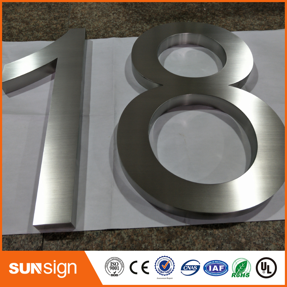1'' Thickness Brushed Stainless Steel House Numbers And Letters