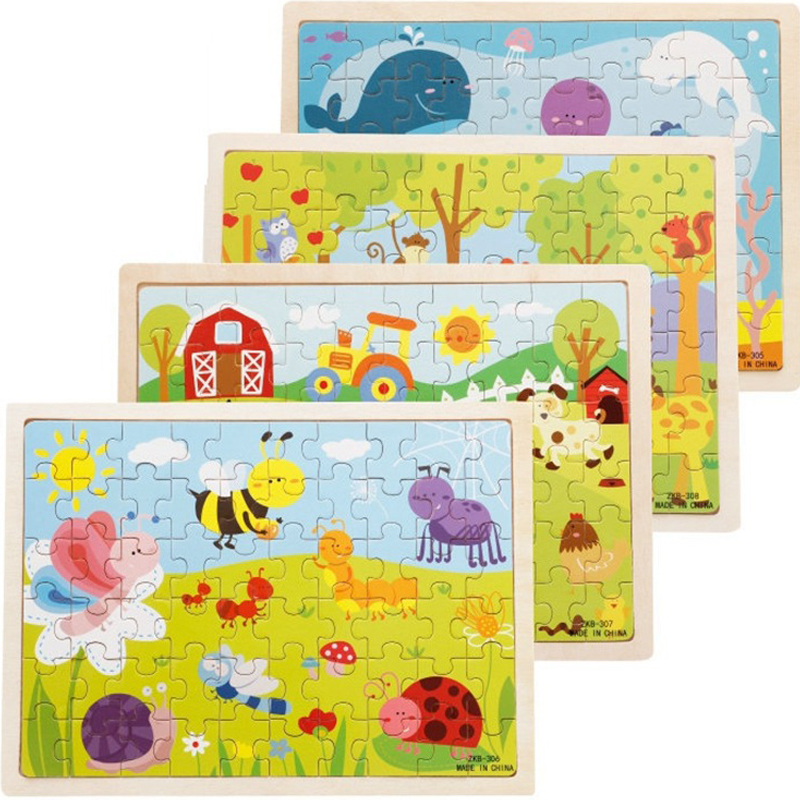 60Pcs/set Wooden Puzzle Games Creative Wooden Toys Jigsaw Puzzles For Kids Educational Games For Children Set For Creativity Toy