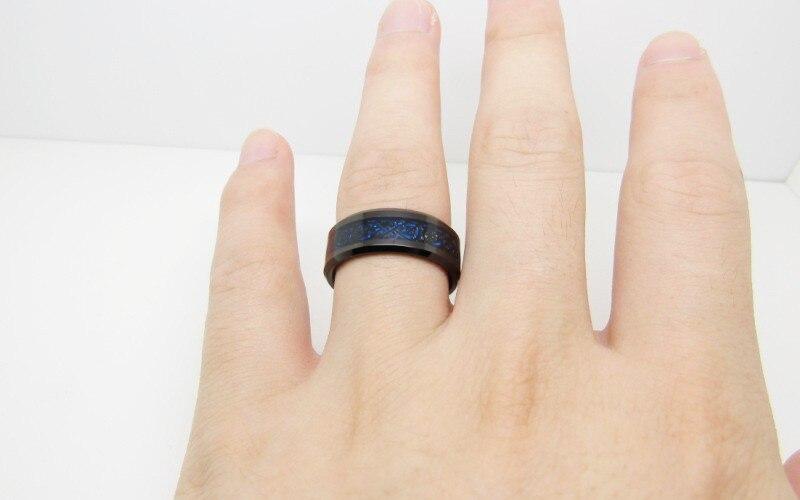 68mm Blue Black Silvering Irish Celtic Dragon Tungsten Carbide Ring