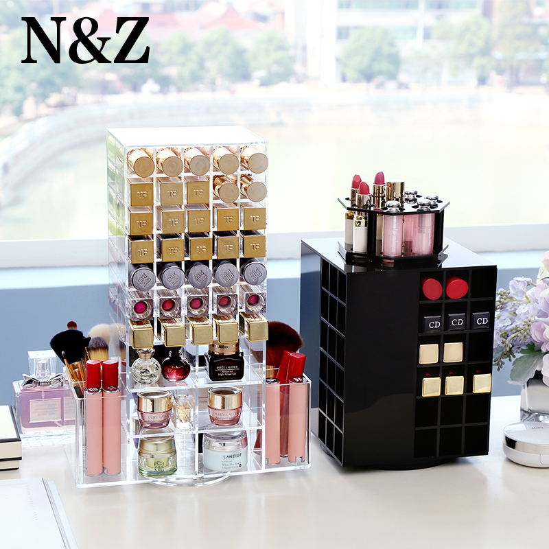 N&Z Best Selling 360 Degree Rotating Lipstick Holder Storage Box Case Cosmetic Jewelry Organizer Box Makeup Storage Stand Holder cute cat pen holders multifunctional storage wooden cosmetic storage box memo box penholder gift office organizer school supplie