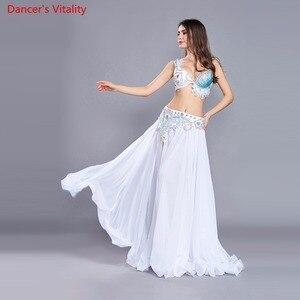Image 2 - Lüks kadınlar için oryantal dans kostümü sutyen kemer etek 3 adet Set performans gösterisi kostüm beyaz gökyüzü mavi ücretsiz kargo