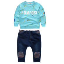 Autumn baby infant cotton Boy clothing 2 set kids sports suit children tracksuit letter long shirt sweatshirt+pants jeans casual