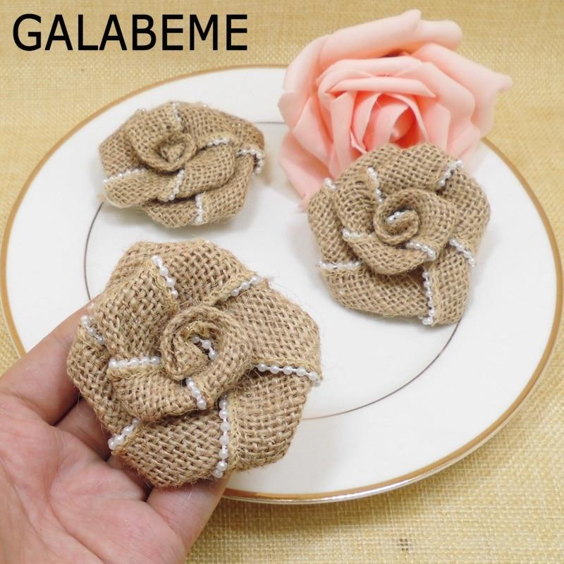 Rustic Wedding Ideas Using Burlap: Galabeme 20pcs Jute Hessian Burlap Flower With Artificial