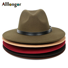 2019 Winter Autumn Black Men Wool Fedora Hat Wide Brim Women Imitation
