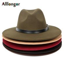 HOT 2020 Autumn Winter Black Men Wool Fedora Hat Wide Brim W