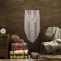 Large Vintage Scandinavian Wall Mural Decor Wall Hanging Crochet Aesthetic Tassel Craft Hand Knotted Bohemian Tapestry Macrame