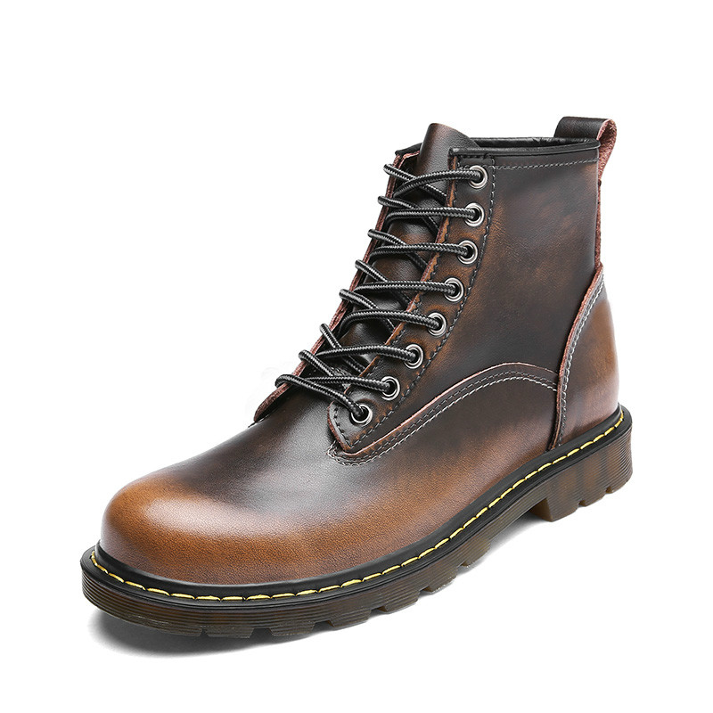 Shoes 2019 New Style Leather Working Safety Shoe For Men Winter With Fur Men Casual Boots Rubber Sole Mart Boots Male British Retro Fashion Boots
