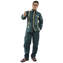 MD africa men bazin riche suits dashiki tops and pant 2 pieces set african long sleeves shirt mens african traditional clothing bazin riche men 2 pieces pants sets african clothes casual men jacquard pattern patchwork top shirt and pants sets wyn767