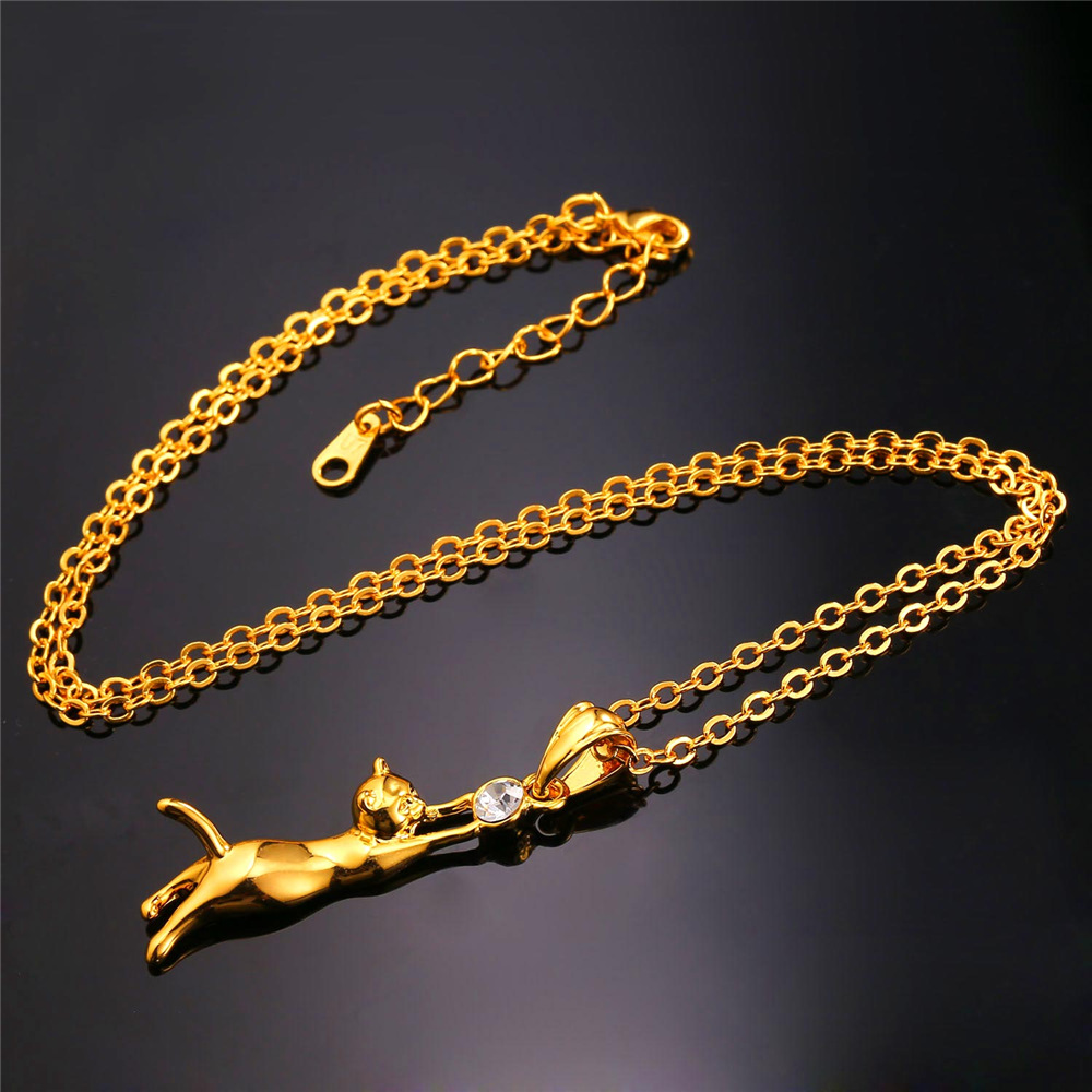 U7 cute cat necklace pendant for women gift rhodiumgold plated cute cat necklace pendant for women gift rhodiumgold plated trendy rhinestone animal pet aloadofball Image collections