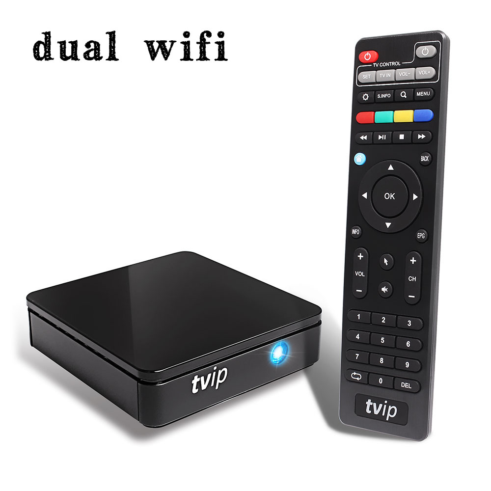 TVIP 415 Dual WiFi TV Box Amlogic Quad Core 5GB Android 4.4/Linux Dual OS Smart TV Box Support H.265 Airplay DLNA 250 254 10 pcs mini tvip 410 412 box amlogic quad core 4gb linux android 4 4 dual os smart tv box h 265 airplay dlna 250 254 free ship