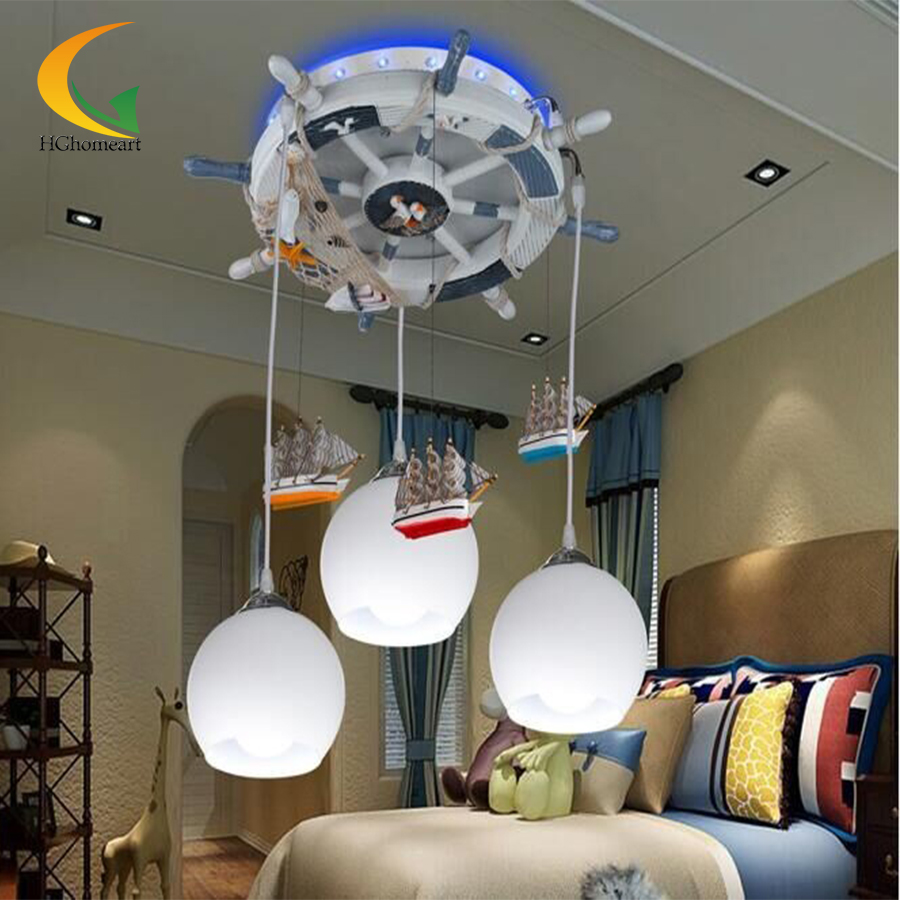 Kids bedroom ceiling lights - Acrylic Modern Mediterranean Rudder Kids Chandeliers Led Ceiling Lights Children S Room Cartoon E27 220v For Decor