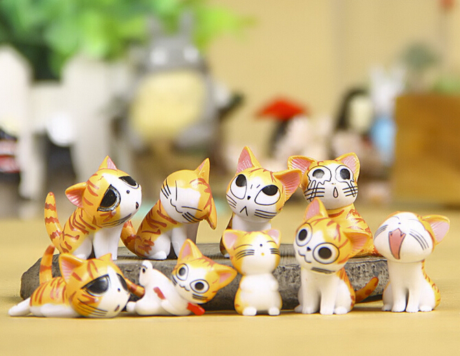 9pcs Lot Christmas Birthday Gifts Japan Anime Figure Cheese Cat Doll Toy Figures