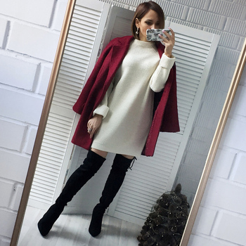 AiiaBestProducts Winter Solid Knitted Cotton Sweater Dresses 1