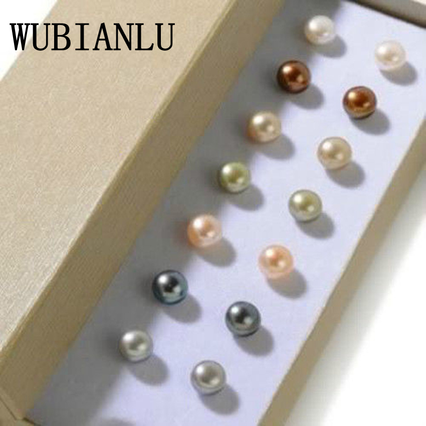 WUBIANLU New Fashion 7 Sets 8mm Multicolor Cultured Pearl Shell Stud Earrings For Women Jewelry Design Wholesale And Retail цена и фото