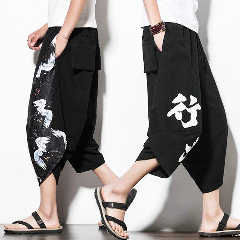 Pants Crotch Loose Cotton Linen Chinese-Style Men's Summer 5XL Wide Big Lantern